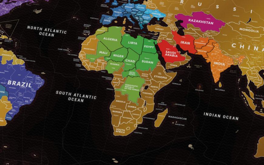 RUBBELKARTE WELT Travel Map™ Black World