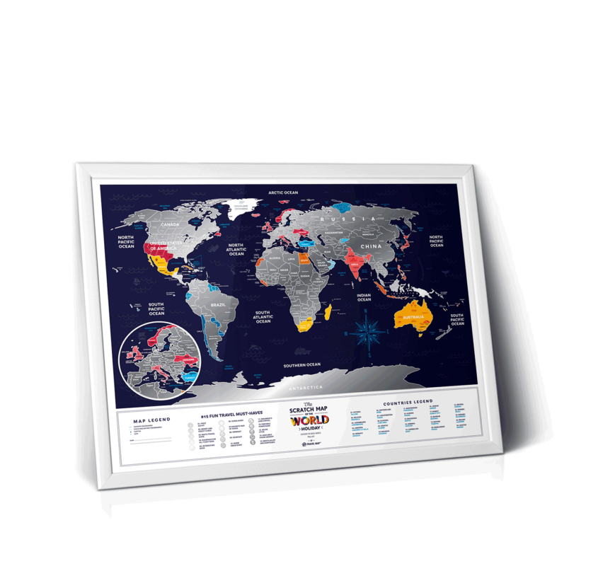mapa zdrapka wakacje wnętrze rama