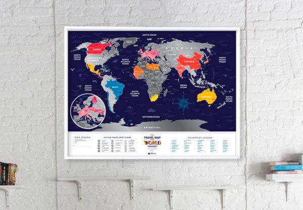 mapa zdrapka świat wakacje design prezent
