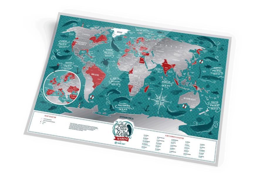 mapa zdrapka świat marine