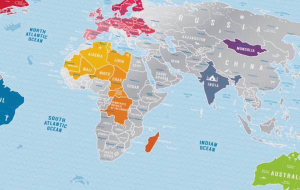 mapa zdrapka świata detal