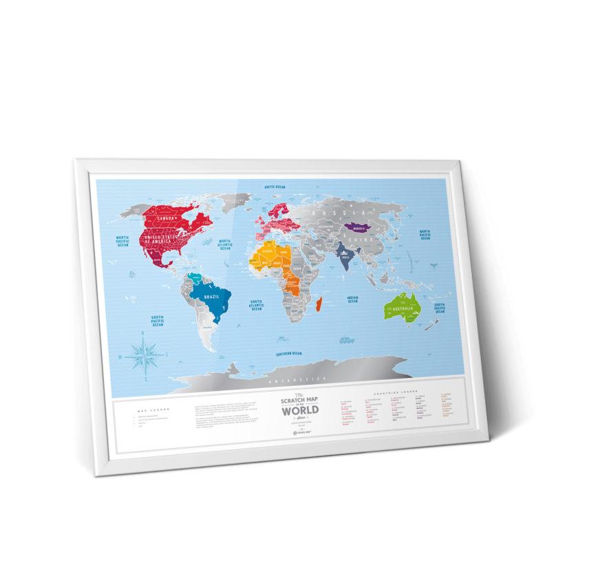 mapa zdrapka srebrna świat