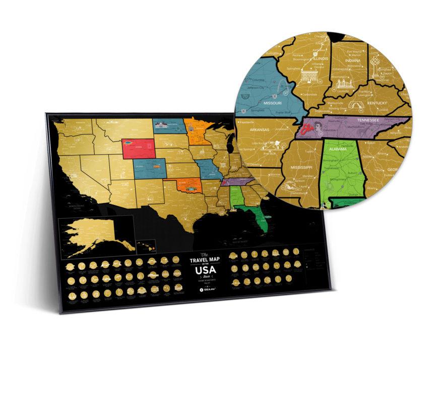 mapa USA Czarna 3