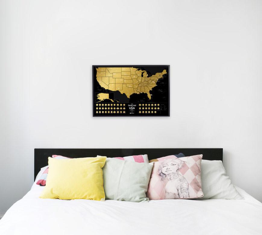 Mapa Czarna USA wnętrze design