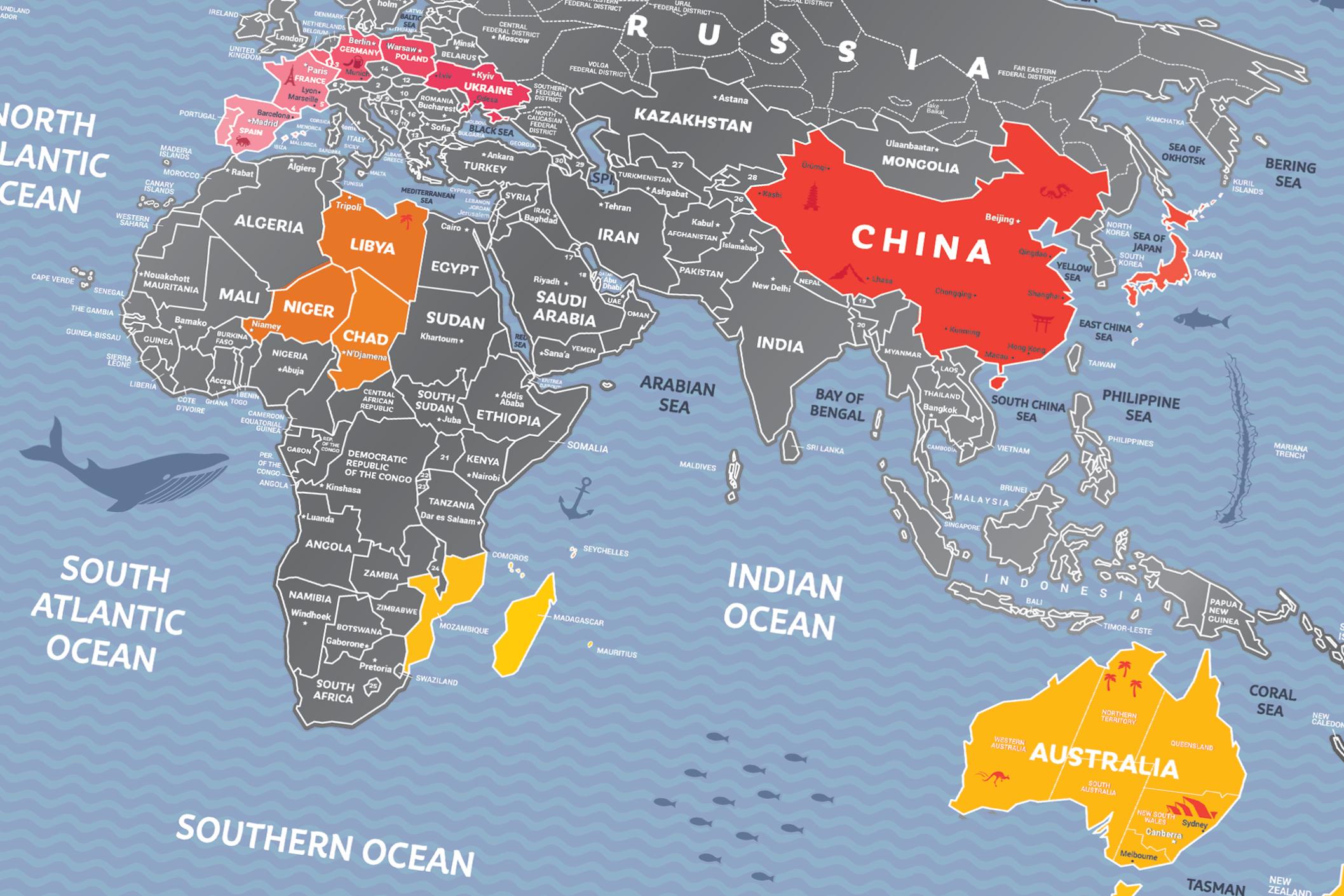 RUBBELKARTE WELT Travel Map™ Weekend World - Rubbel Karte | Karten on