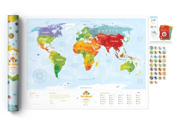 mapa zdrapka świat dzieci interaktywna prezent zwierzęta