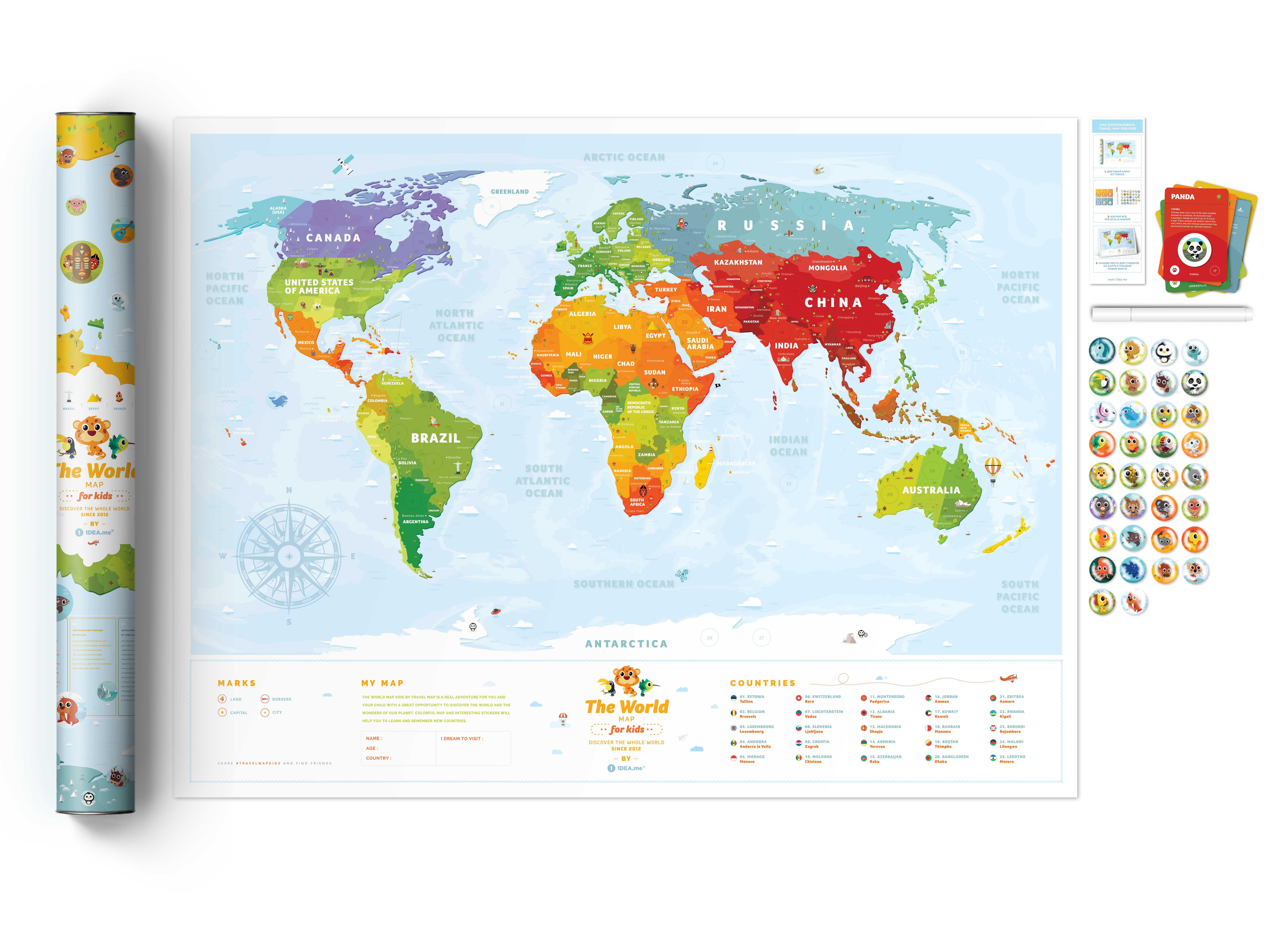 INTERAKTIVE KINDERKARTE Travel Map™ Kids Animals