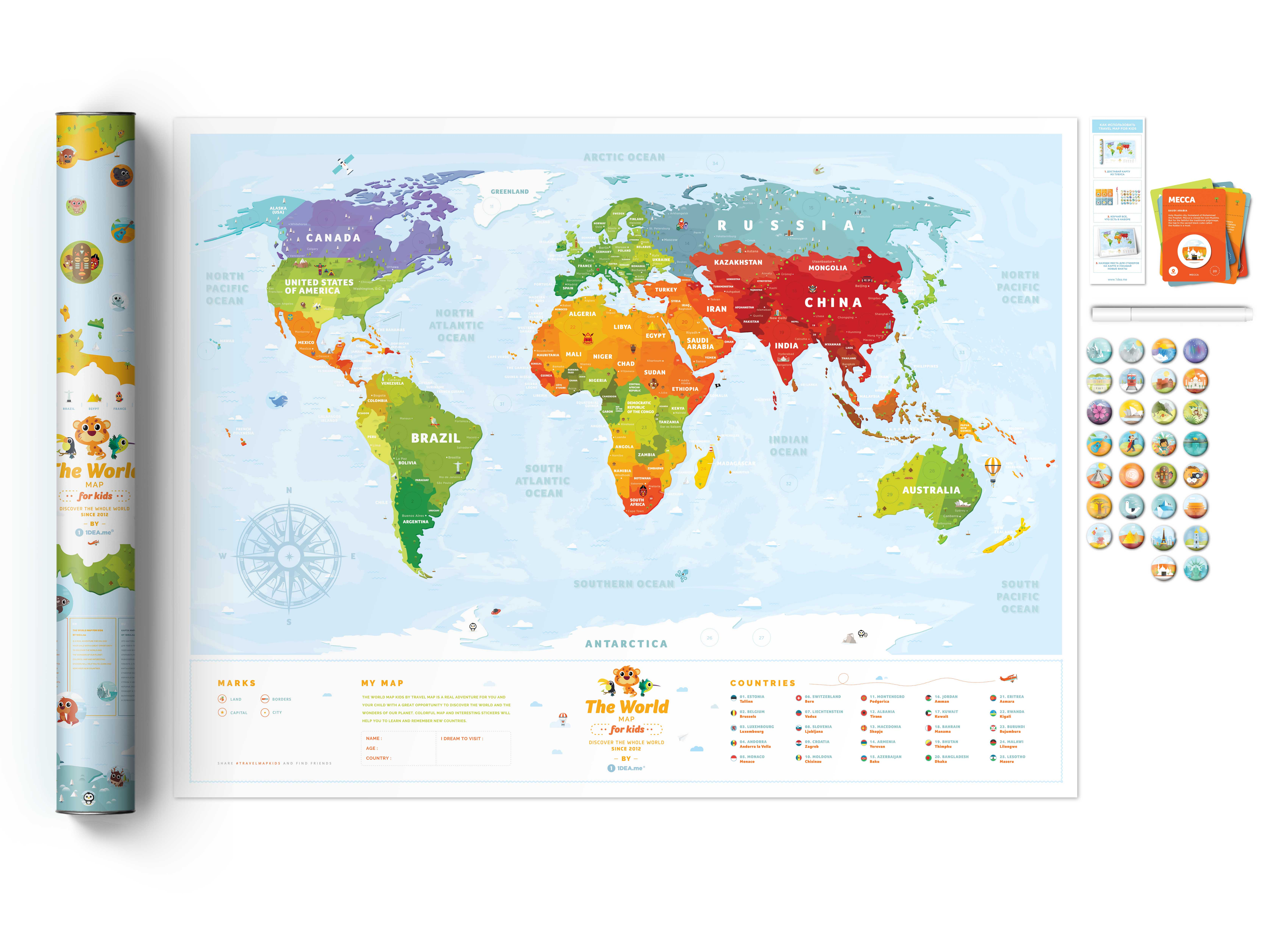 Earth Map For Kids on