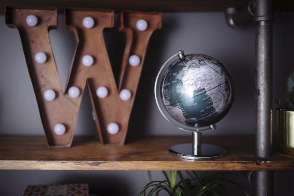 WWL079 Schreibtisch globus globe geschenk silbern grun elegant