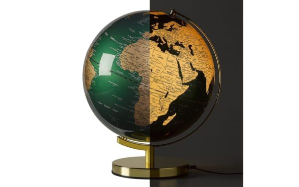 GLOBE LIGHT 12, FIR GREEN & BRASS zielony globus